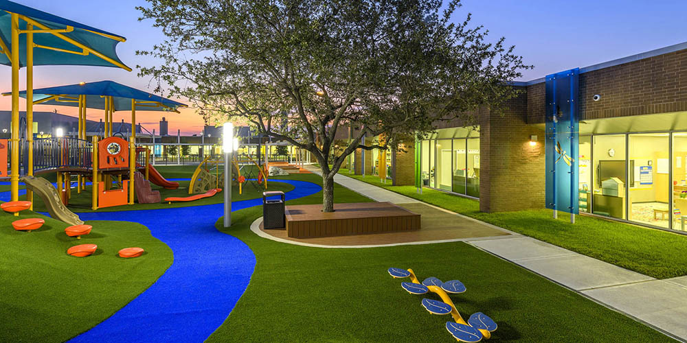 SYNLawn, a manufacturer and installer of synthetic landscape grass, shows an example, for commercial use, of the Awaty International playground, in Texas.