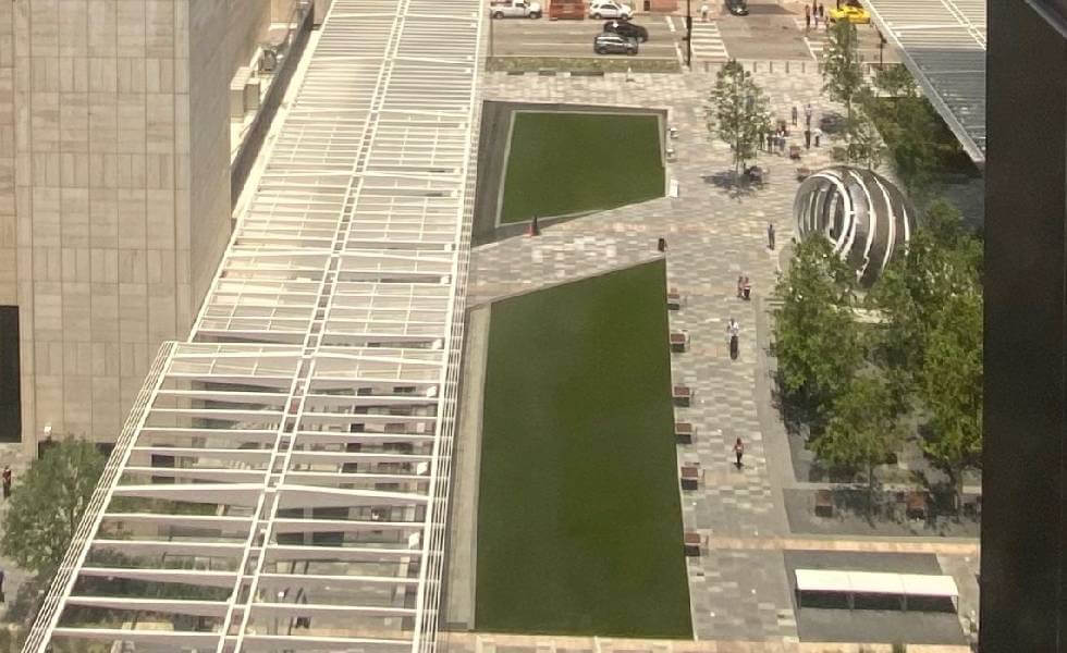 Aerial view of the AT&T Discovery District built with SYNLawn Artificial Turf